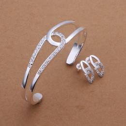 Wholesale High grade sterling silver Cross O Set jewelry sets DFMSS400 brand new Factory direct sale wedding silver bracelet earring
