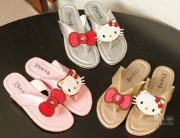 Wholesale Cartoon baby summer cool slippers new cheap children sandals beautiful bowknot girls fashion sandals pair B1