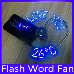 Wholesale USB LED Colored Flash Word Mini Fan with Switch USB clock fan5pcs
