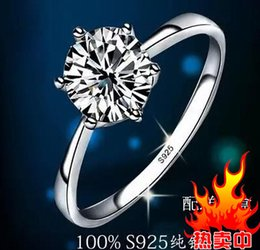 Fast Free shipping Real Fine Classic six claw one karat 1ct diamond ring 925sterling silver ring couple rings women marry wedding engagement