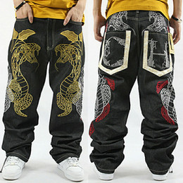 Wholesale-2015 new chinese style black men jeans hip-hop demin jean plus size Python embroidery hip hop baggy jeans nzk01
