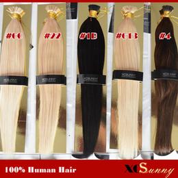 """XCSUNNY Stick Tip Extensions 18""""20"""" Indian Human Hair Blonde 100g Natural Hair Extensions Keratin 1g s 100% Human Hair Keratin"""