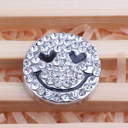 JACK88 NEW Smiling Face 18 mm Snap Button 20PCS Lot Snaps Rhinestone Ginger Snap Jewelry for Snap Charm Bracelet N330