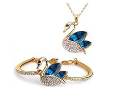 Wholesale Austrian crystal jewelry set silver plated swan crystal jewelry fine diamond bracelet and necklace set z114