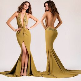 New Arrival Spring Summer Michael Costello Evening Dresses Sexy Deep V Neck Sleeveless Backless Red Carpet Gowns