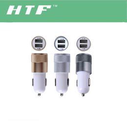 Wholesale Best Dual USB Port Car battery chargers aluminium alloy Universal Volt Amp for Apple iPhone iPad no retail box