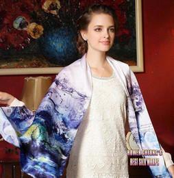 Mejores bufandas de moda en venta-El nuevo Qulity Qulity de seda del resorte 100% del mantón de la bufanda del invierno de la muchacha de la manera del envío libre con las flores Digitaces imprimió 69X21inch