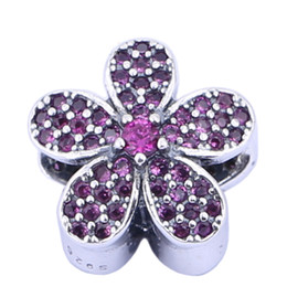 100% 925 Sterling Silver Charms 925 ALE Floral with Rhinestone European Beads for Pandora Bracelets Purple Flower