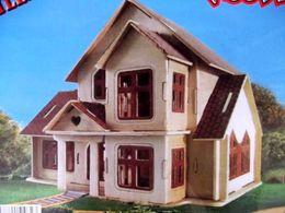 Wholesale-Educational Toys Small Villa Building 3D Puzzle Wooden Scale Model of Miniature DIY