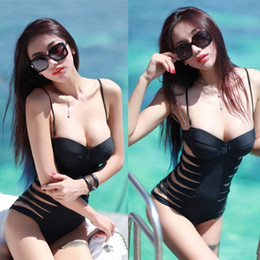 Wholesale S5Q Sexy One Piece Monokini Cut Out Side Push Up Padded Swimsuit Bikini Swimwear AAABZH