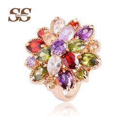 Wholesale SparShine multicolor Crystal Rings Fine Ruby Anillos Vintage Bijoux Joyas De Plata For Women Ring Anel Roxi Fashion