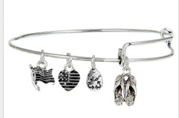 Wholesale 12pcs slipper shoes silver Hope Love Charm Bracelet Expandable Women Bangles Alex Ani Style jewelry for women bangle