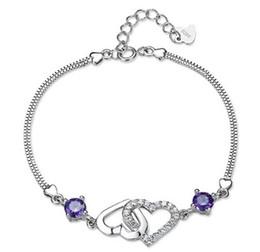 30% 925 Sterling Silver Bracelets Double Heart Love to Love Box Links Chain Bracelet Jewelry Purple Silver Color Free Shipping