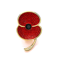 Wholesale Gold Tone With Red Crystal Rhinestone Flower Poppy Brooches and Pins For Remebrance Day Gift