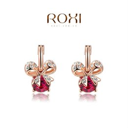 015 ROXI Christmas Gift Fashion Jewelry Rose Gold Plated Statement Bowknot Red Stone Drop Earrings Women Party Wedding Free Shipping