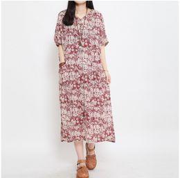 Women Dress Short Sleeve Maxi Dress Plus Size Cotton And Linen Vintage Flower Print Vestidos Summer Style Long Dresses,D90