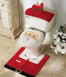Wholesale 4pcs Fancy Santa bathroom toilet seats cover toilet seat cover and rug bathroom set christmas decorations happy santa toilet seat