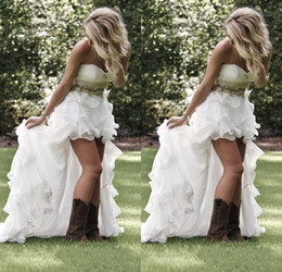 Summer Garden Beach High Low Wedding dresses With Crystal Beaded Sweetheart Bridal Gowns Low Back Ruffles Bling Wedding Gowns 2016