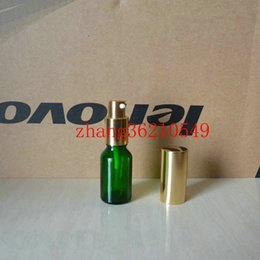 15ml green Glass lotion Bottle With aluminum shiny gold pump.for lotion and essential oil. lotion cream glass container