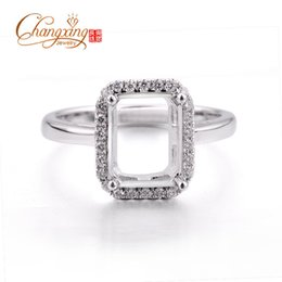 Wholesale-7x9mm Emerald Cut Real 14k Gold Pave Full Cut Diamonds Semi Mount Ring Settings