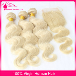 Hot Sale 7A Lace Closure With Bundles 3 Bundles Unprocessed Virgin Hair Body Wave 613 Platinum Human Hair Weaves With Lace Closure