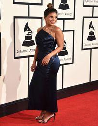 Wholesale Red Carpet th Grammy Awards Sexy Back Long Sleeve Evening Celebrity Dresses Fold decoration prom dress evening dresses