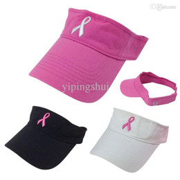 Wholesale-Hot 2019 New Pink Ribbon Breast Cancer Awareness Visor Summer Men Women Golf Sports Visor Cap White Black Pink Free Shipping