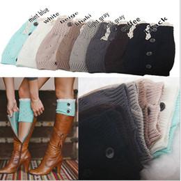 Wholesale 8 colors NEW Fashion Ladies Crochet Boot Cuff Button Lace Knit Leg Warmer Boot Socks Knee Hosiery Girls Legging Frozen A Pairs