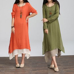 Wholesale High Quality Cotton Linen Women Dress Long Sleeved Loose Vintage Dress Chinese Nation Wind Casual Dress Asia Size L XL XA0202 salebags