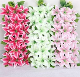 Artificial Silk Lily Floral Arrangements Archway Row Flowers Square Shape Lily for Wedding Flower Home Party Decorative Flowers