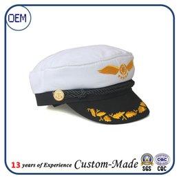 Wholesale White Boat Ship Sailor Captain Costume Hat Navy Marine Cotton Embroidery Anchor cap