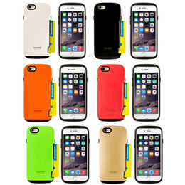 Wholesale iface Innovation Hybrid TPU PC Silicone Case Credit Card Slot Armor Cases Back Cover For iPhone S S Plus Galaxy S6 Edge Note A5 E7