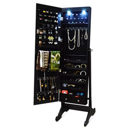 Wholesale Wood Free Standing Jewelry Cabinet Storage Organizer with LED Light Jewlery Display USA Stock