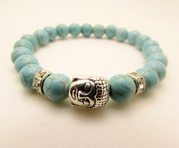 Wholesale Natural Turquoise Beaded Silver Buddha Bracelet New Products Bracelets For Men and Women Jewelry