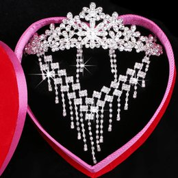Sparkly Beaded Rhinestone Bridal Tiara Necklace Earrings Jewelry 3 Sets Wedding Accessories For Wedding Evening Party