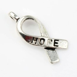 Wholesale 7 x18 mm Tibetan Silver Awareness Hope Ribbon Metal Alloy Charms Pendants Fashion Fit Bracelets Necklace Earrings L088