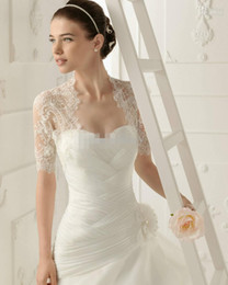 2016 Free Shipping Custom New Elegant Short Sleeves White Lace Bolero Wedding Jackets Bridal Wraps Custom Made Cheap Hot Selling New Fashion