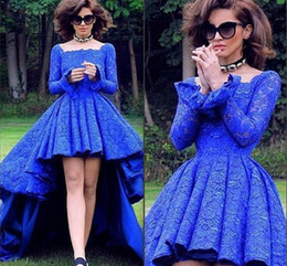 Royal Blue Retro Lace Long Sleeve Prom Dresses 2016 Square Neck High Low Ruffles Evening Gowns Zipper Back Formal Party Dresses