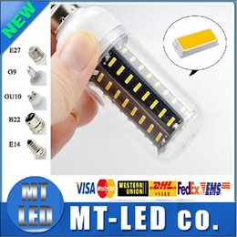 Wholesale 5 Unit Ultra Bright W W W W W Led Bulb E27 E14 GU10 G9 Led Lights SMD Led Corn Lights AC V lamp bulbs deg Spotlight