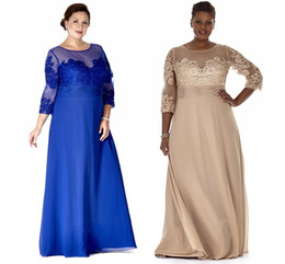 Cheap Chiffon Plus Size Dresses Sheer Neck Long Sleeve Mother Party Prom Dress Evening Gown For Special Occasion With Lace Appliques