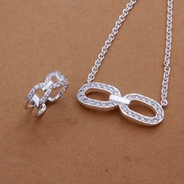 High grade 925 sterling silver Zircon glasses suit jewelry sets DFMSS407 Factory direct sale wedding 925 silver necklace ring