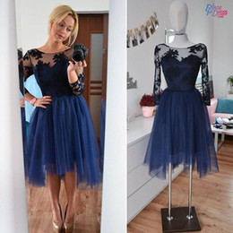 Navy Sexy Short Party Dresses Sheer Ruffles A line Long Sleeve Prom Dress Appliques Simple Homecoming Dress Custom made