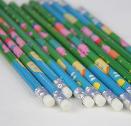 Wholesale packs Fashion Office School children stationery Pink Pig pencil with eraser Children