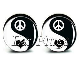 Wholesale ear gauges 60pcs bag peace heart Ying Yang ear plug gauges tunnel ear expander ASP0465