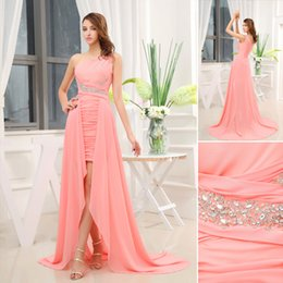 Wholesale 7 Days Returns Guarantee One Shoulder Ruched Chiffon Hi Lo Two Pieces Chic Prom Gowns Pear Pink Best Selling Worldwide