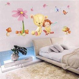 Wholesale Children Bear Mushroom Butterfly Kids Wall Stickers Home Decor Kindergarten Cartoon Adesivo De Parede Infantil