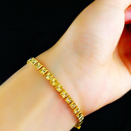 Fast Free Shipping Fine 24K gold bracelet fashion accessories Eventually becoming fade alluvial gold bracelet Bridal Jewelry 4cm * 19cm