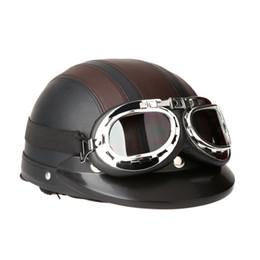Promotion hommes scooter casque Hommes Femmes Casque de moto vélo Casque de vélo Scooter Open Face Demi casque en cuir avec Visor Lunettes Retro 54-60cm