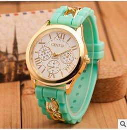 Wholesale 2016 Fashion Christmas Geneva Watch Shadow lovely Colorful Style Rubber Silicon Candy Jelly Unisex Women Silicone Quartz gift chain Watches