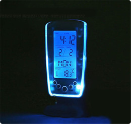 Wholesale Digital Thermometer Clock LCD Alarm Calendar LED Backlight Desktop Clocks with Blue Backlight Blue Music Alarm Clock Led Alarm Clock Best